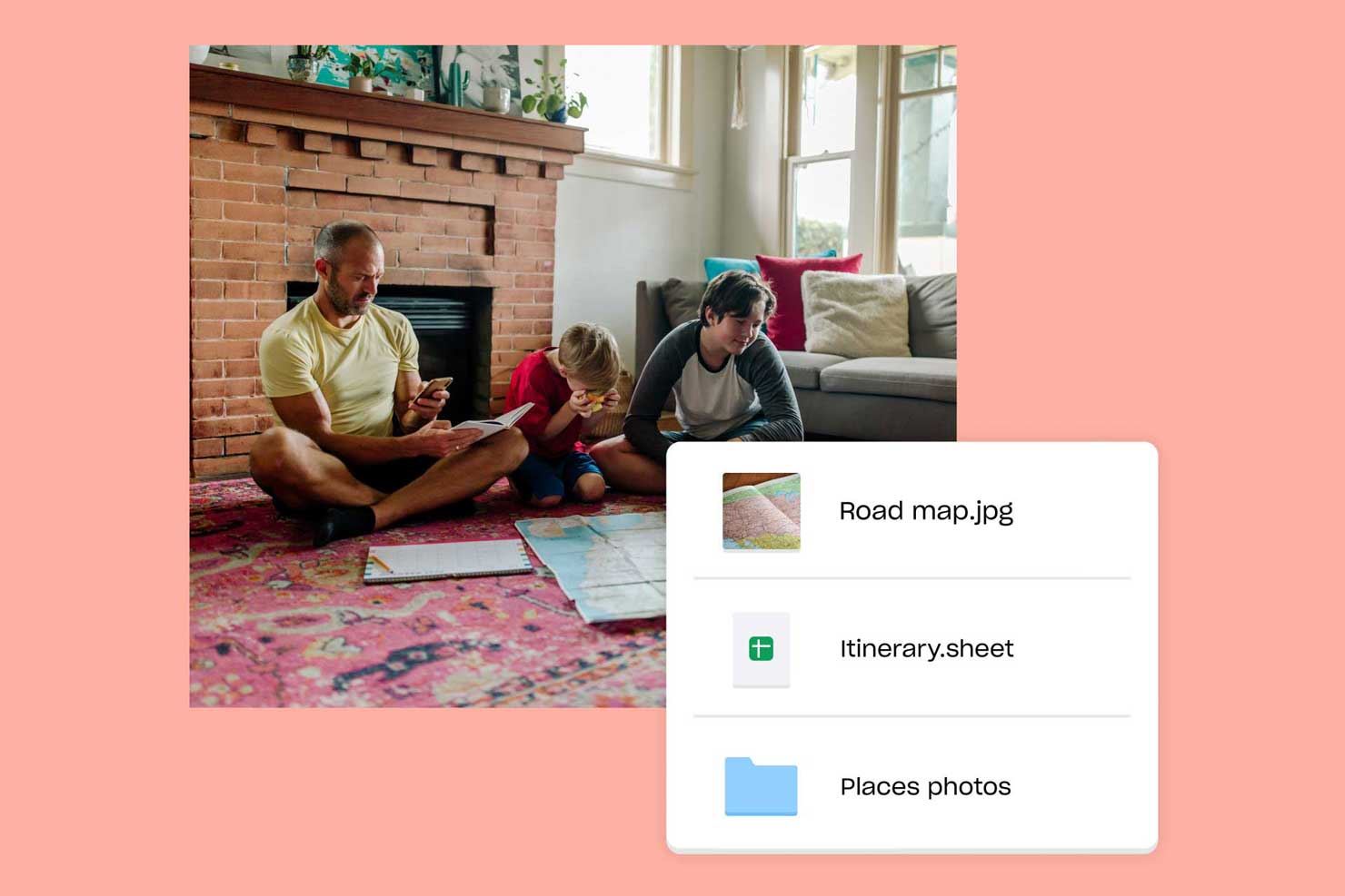 Father sitting on floor with two sons, map, and notepad, looking at travel-related files in Dropbox on phone
