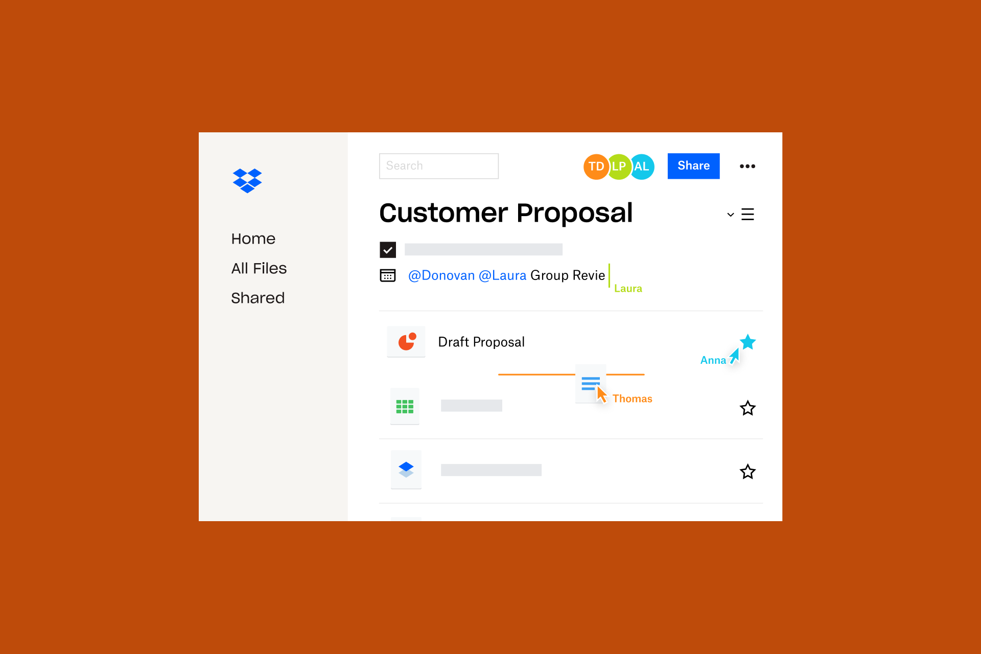 A preview of a customer proposal that has been created with Dropbox Spaces