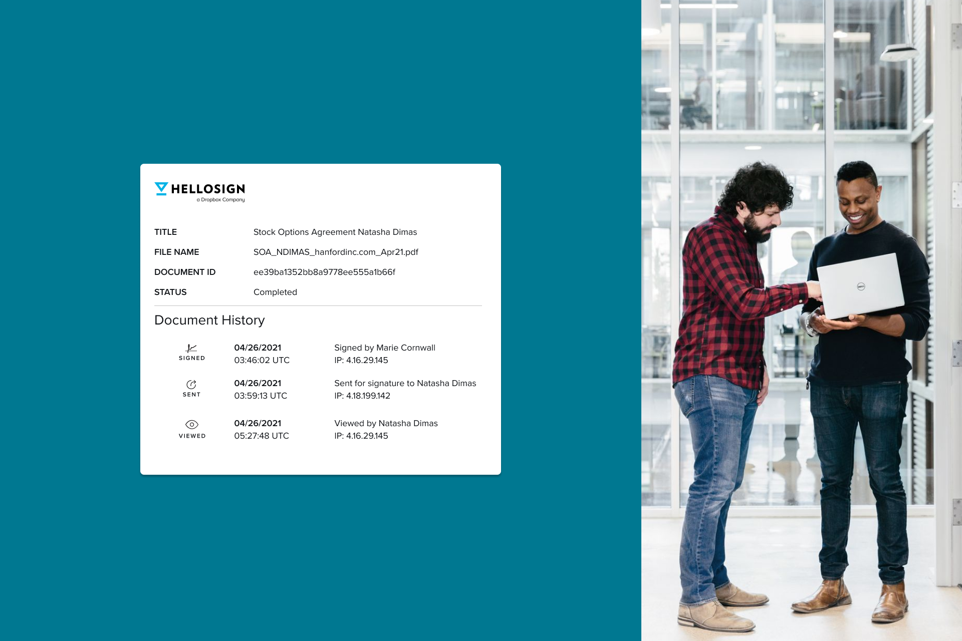 Two workers review the audit trail of a document signed with HelloSign