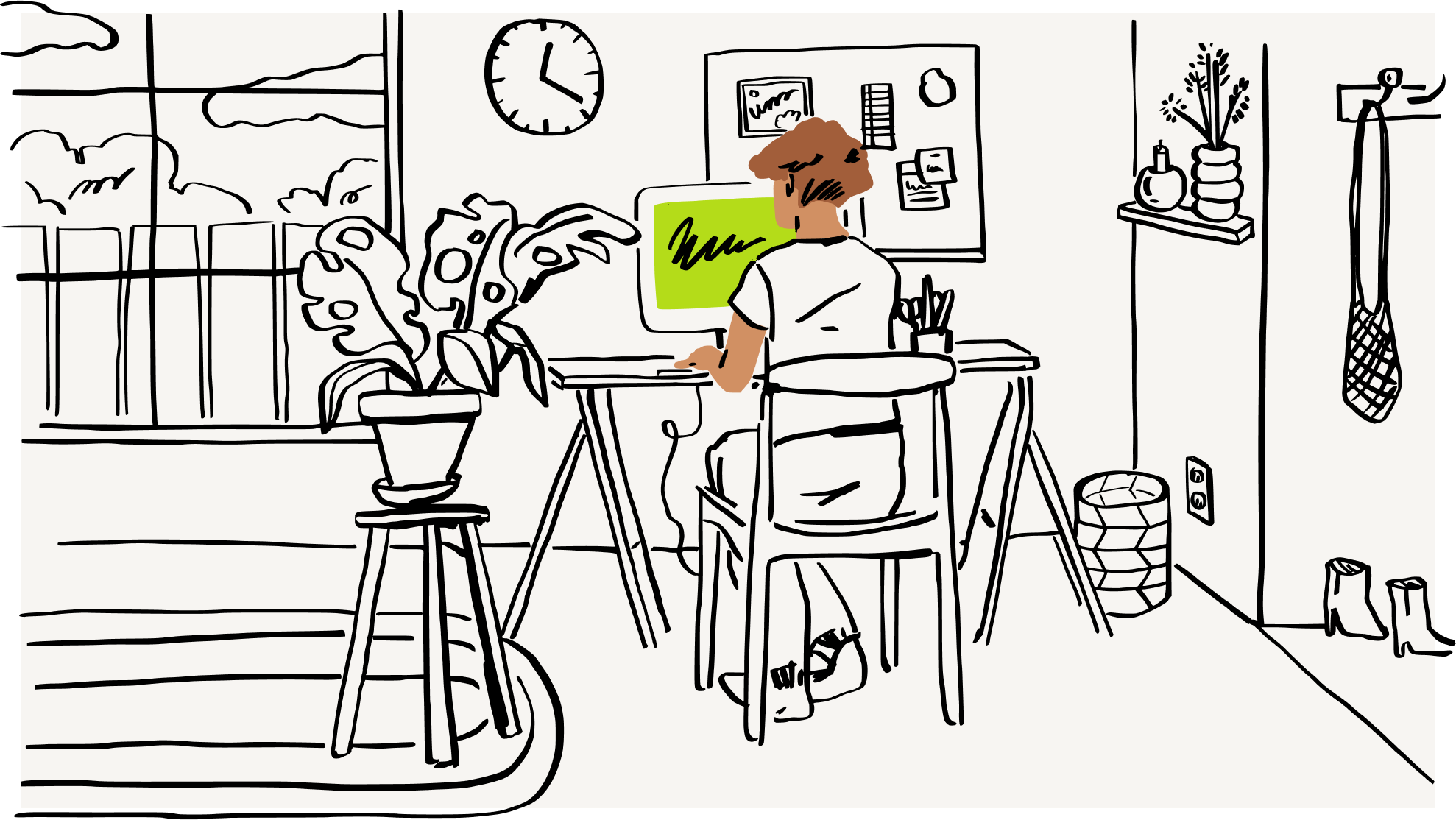 An illustration of a person reviewing various eSignature solutions on their desktop