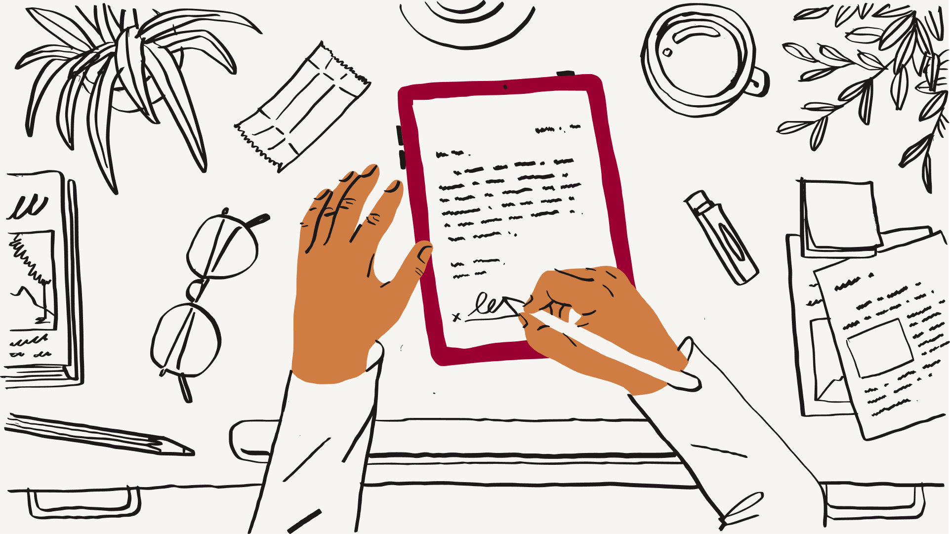 An illustration of a person signing a paper document