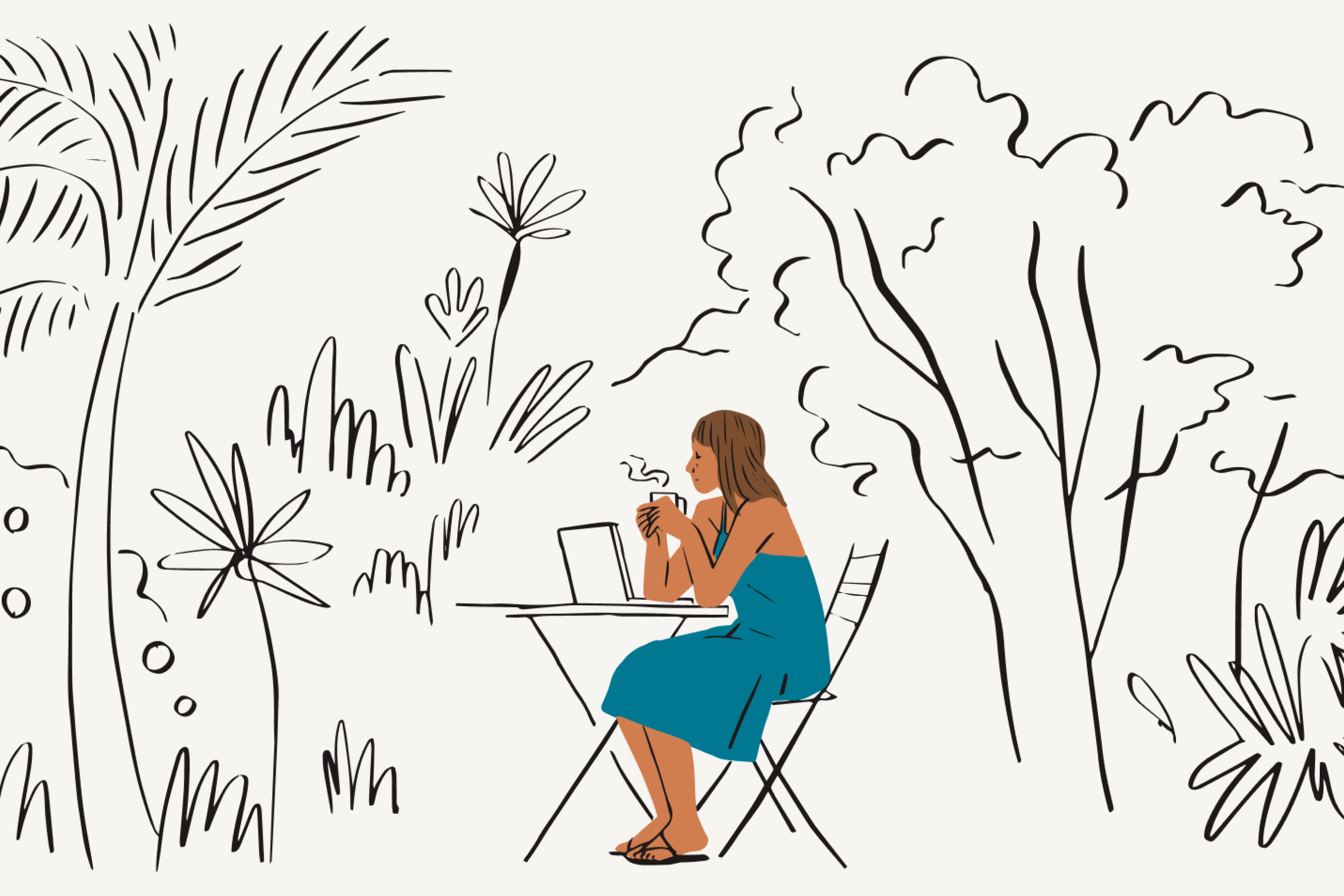 A remote worker takes a break