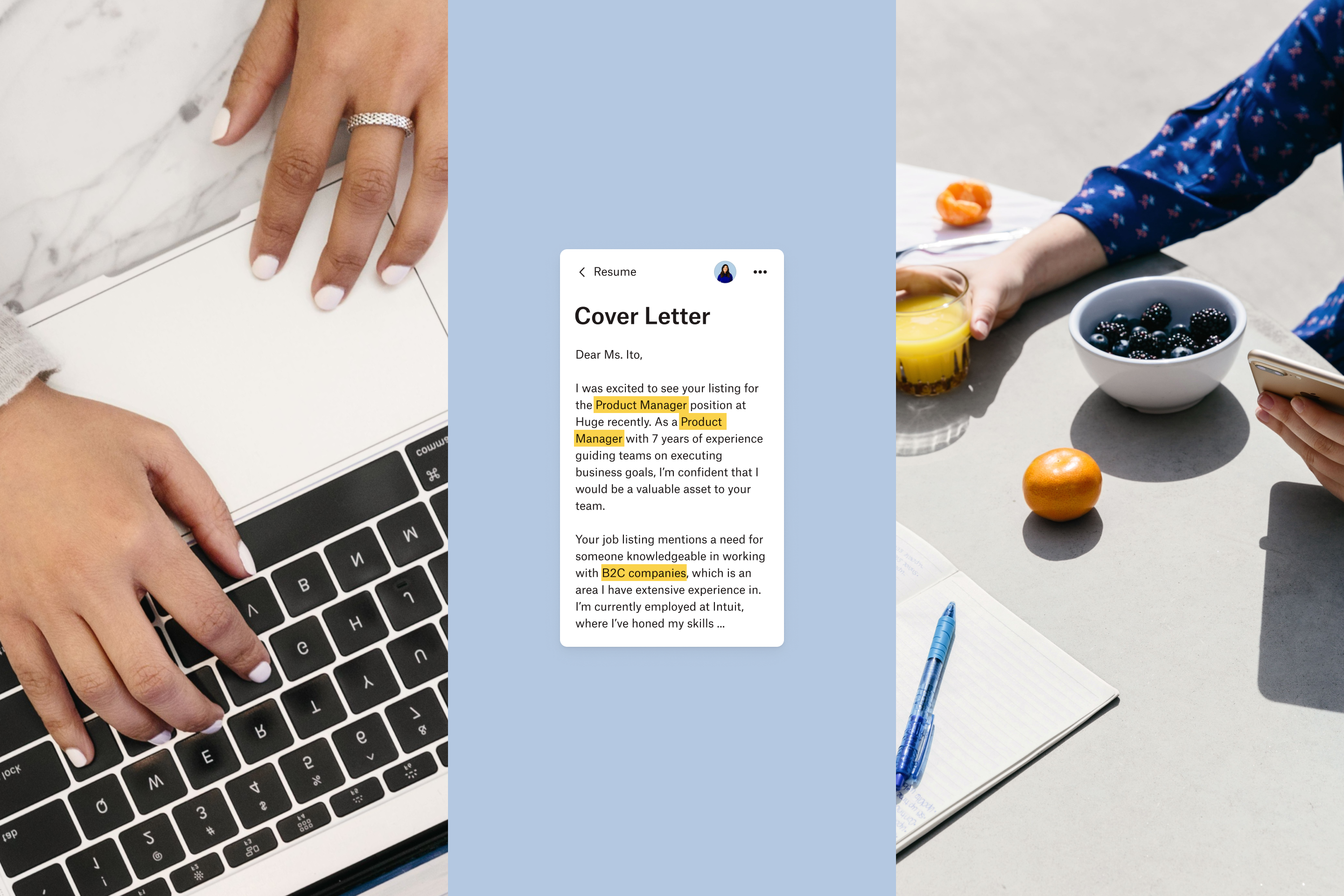 An example cover letter with highlighted keywords