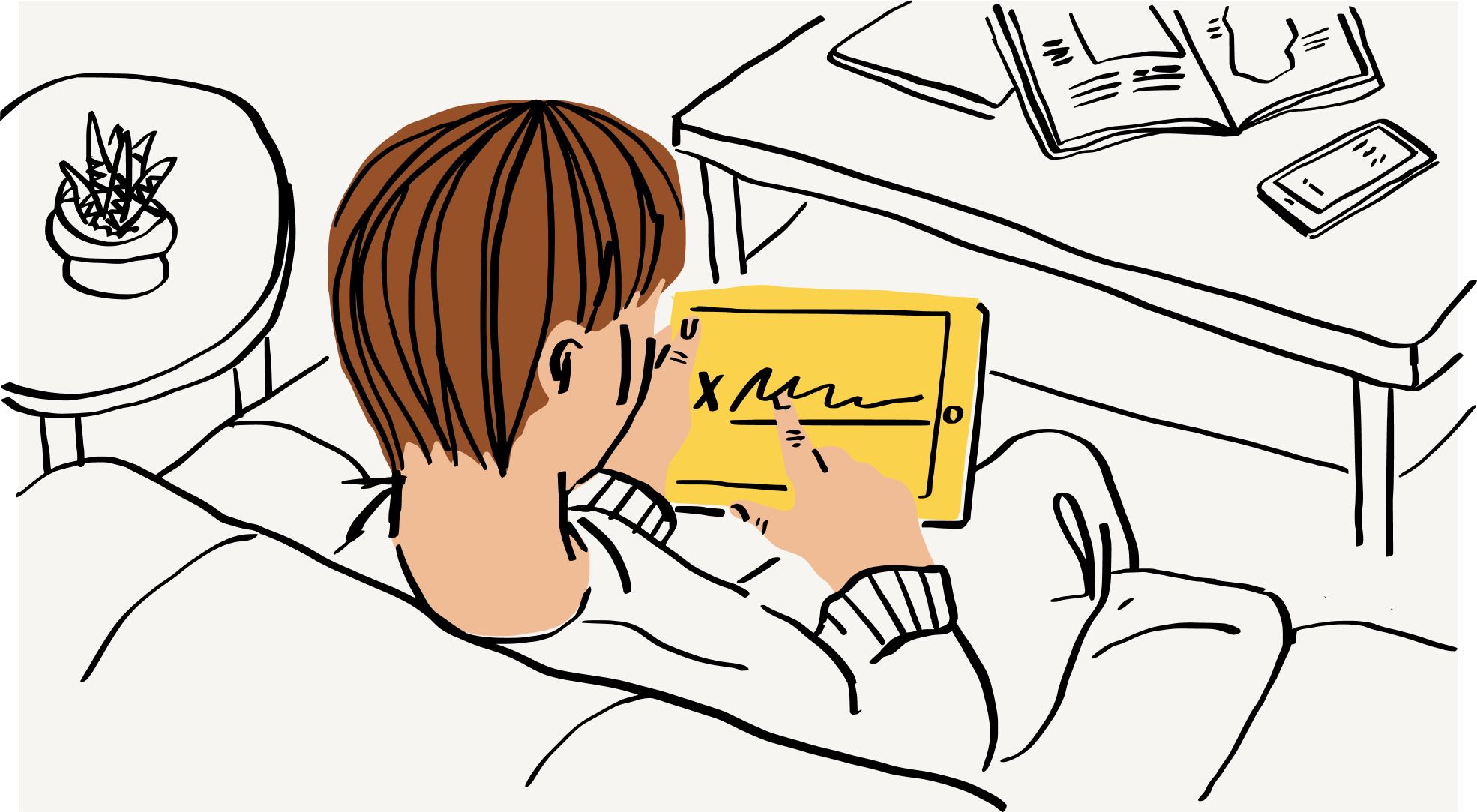 An illustration of a person electronically signing a document on a tablet