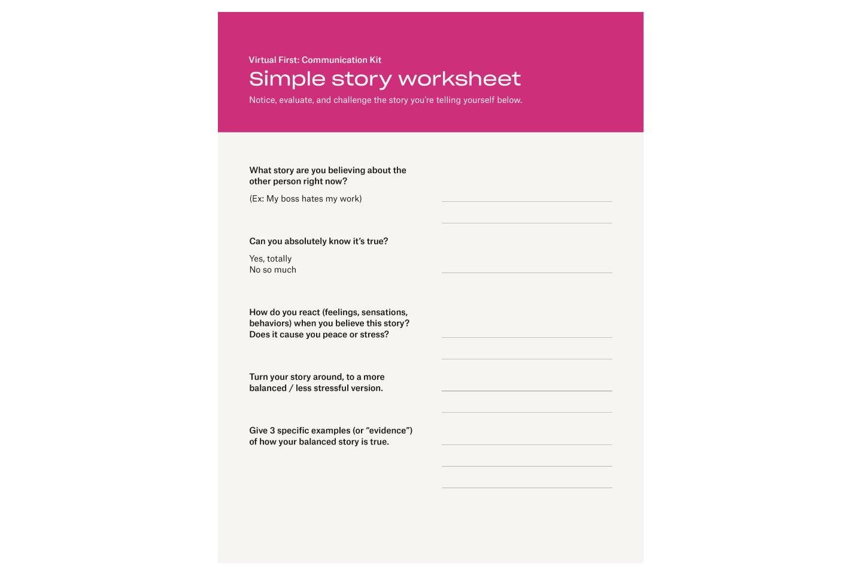 Simple story worksheet