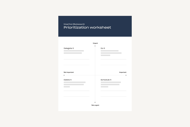 Prioritization worksheet