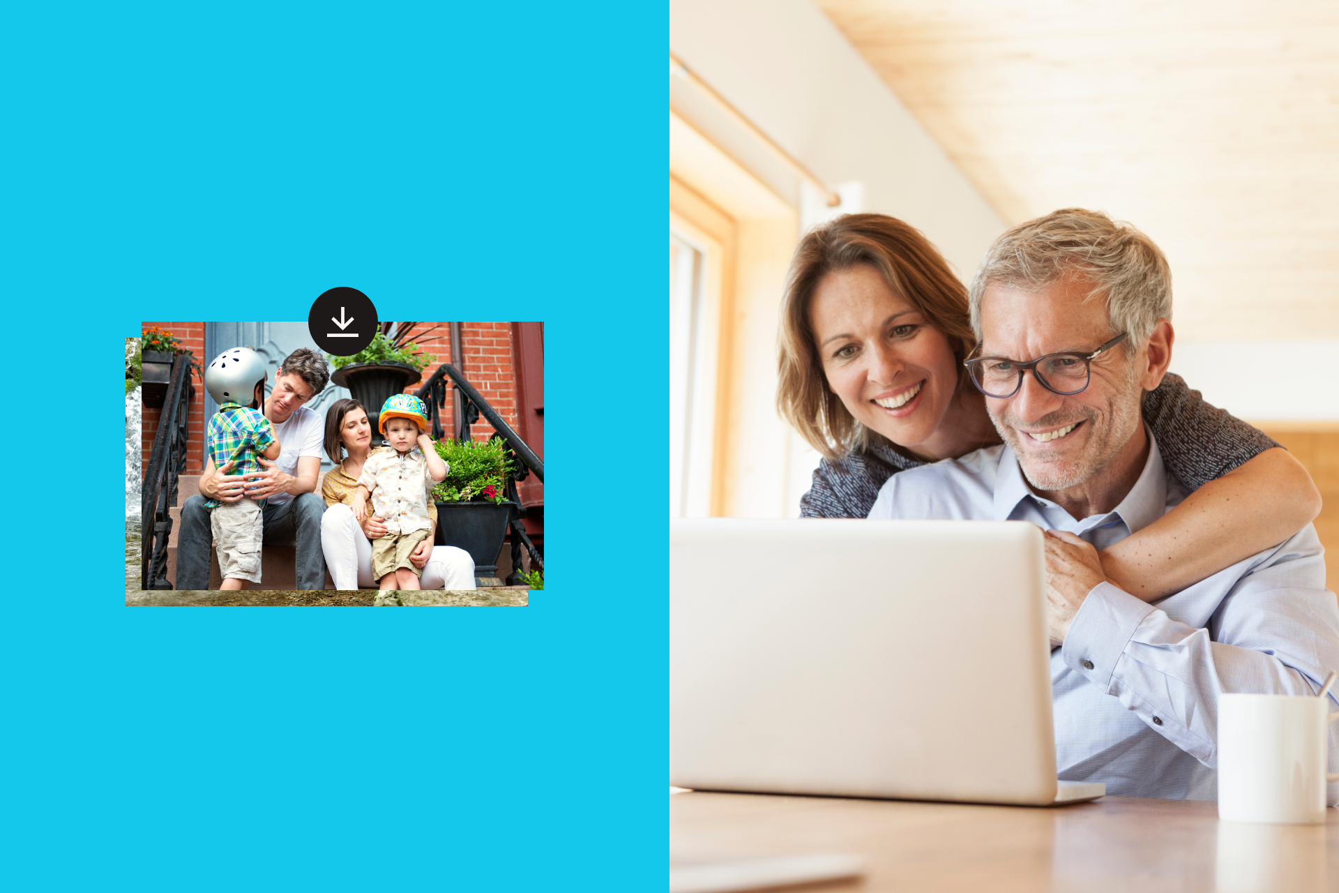 Smiling couple looks at a laptop displaying a photo of a couple with two kids