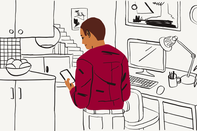 Una persona buscando respuestas a preguntas sobre el teletrabajo en un dispositivo móvil