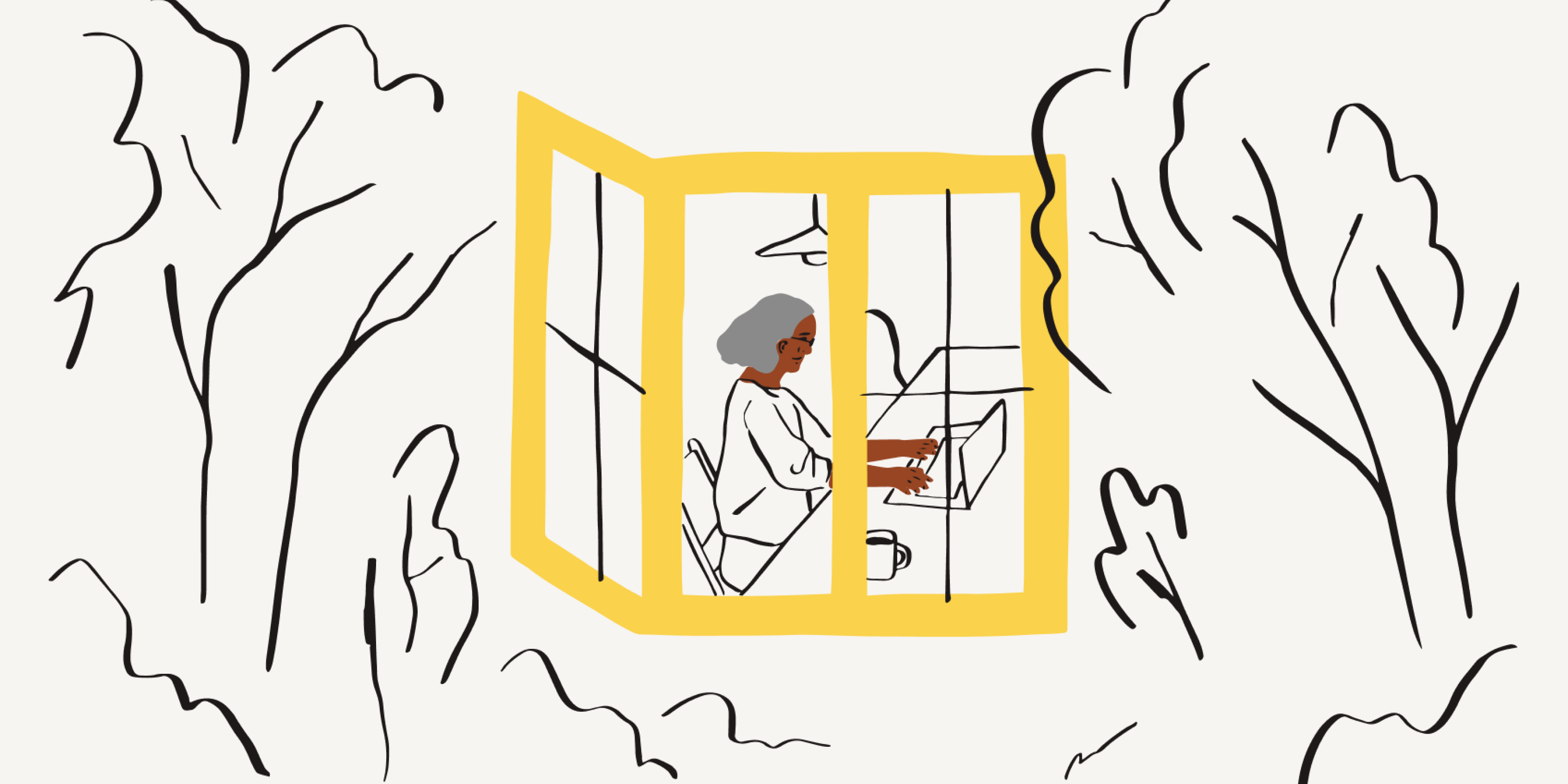 An illustration of a person working from their home