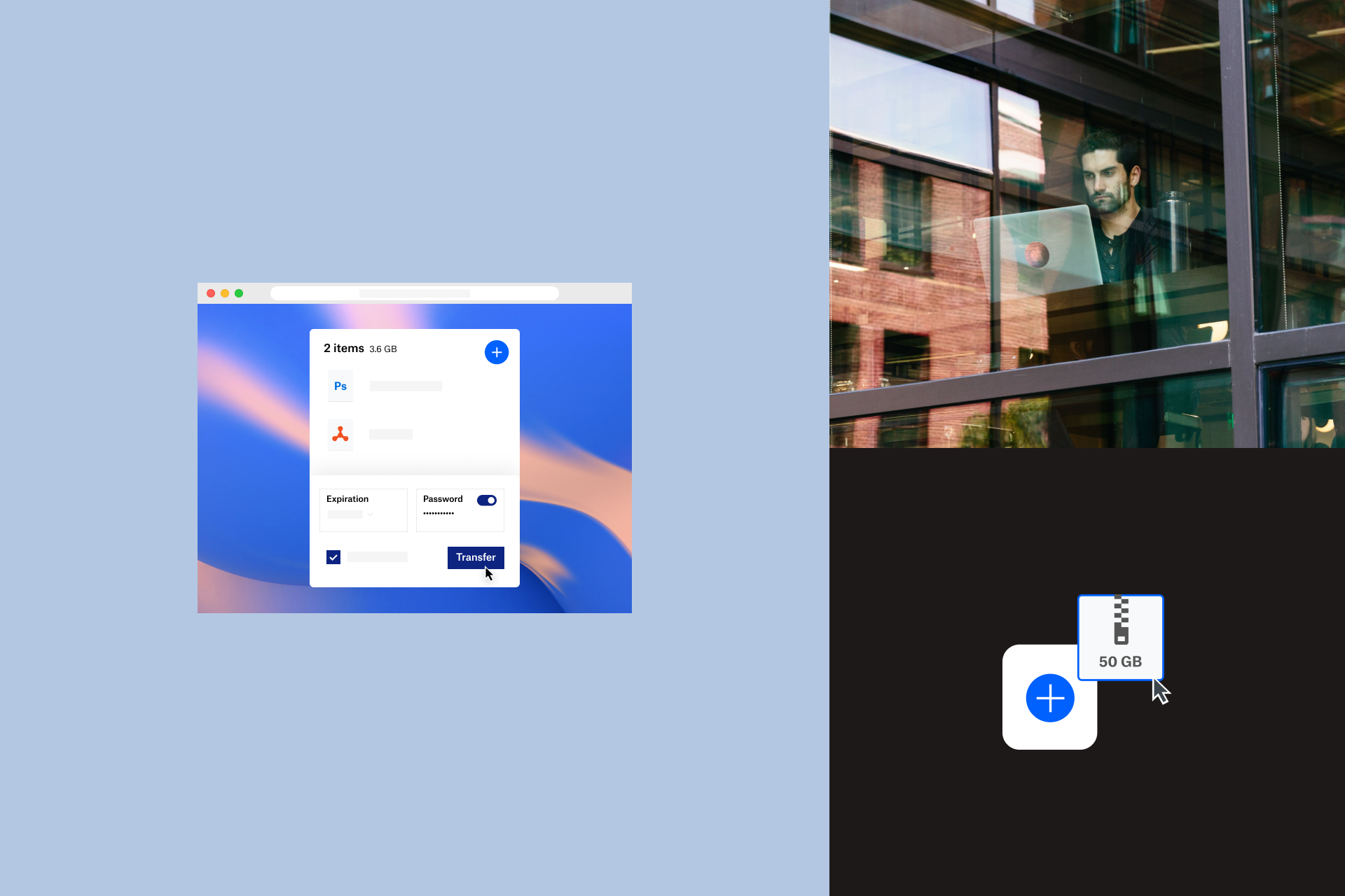 A view of the Dropbox transfer interface