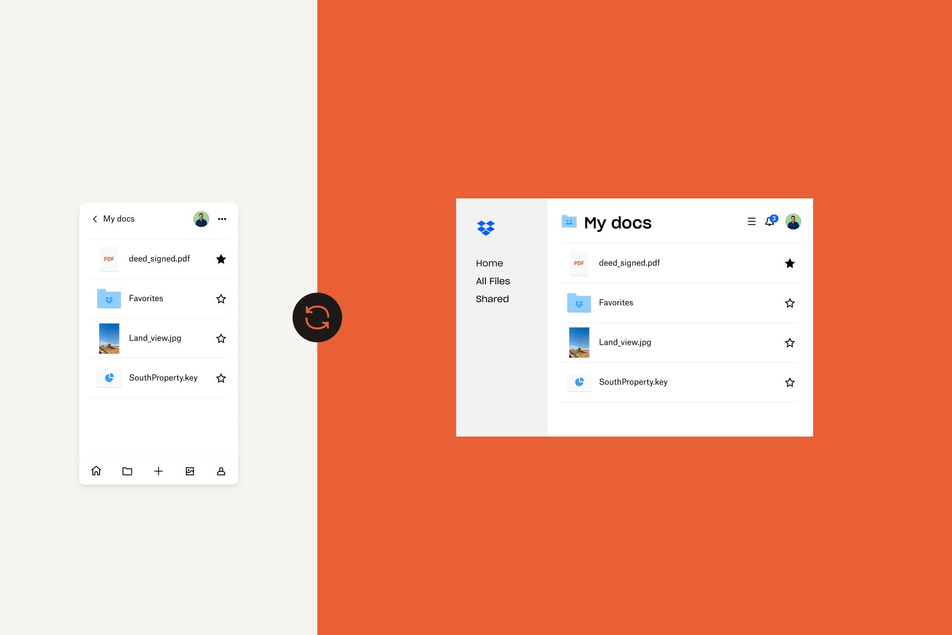 Imagen de las aplicaciones de Dropbox para móviles y escritorio