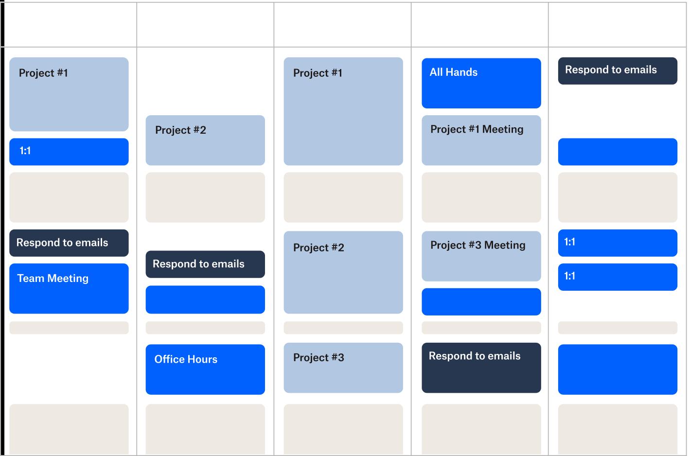 An example of a calendar schedule
