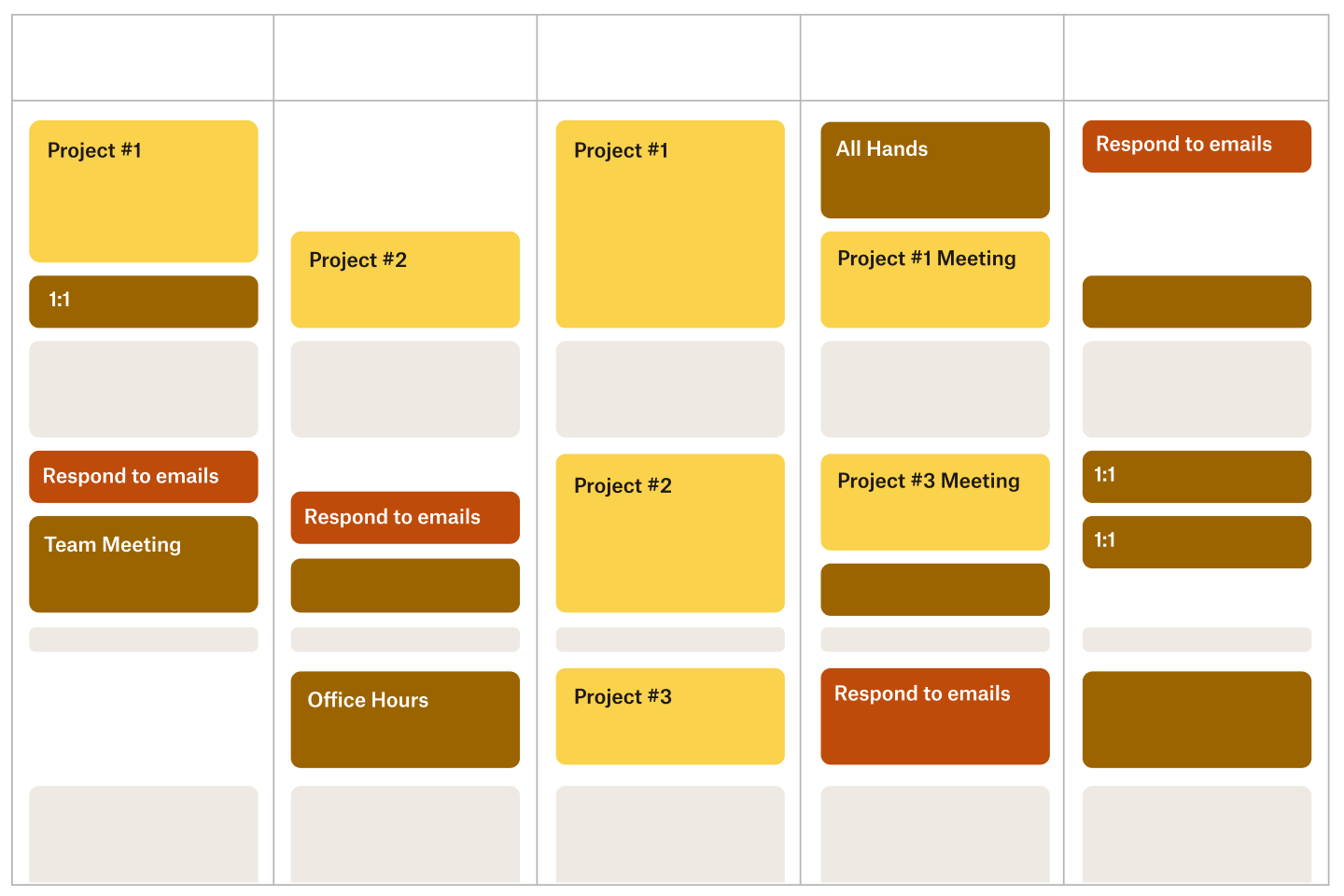 An example calendar for managing energy levels