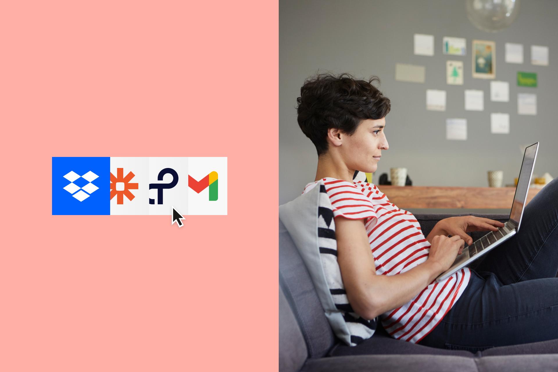 En bruker ser gjennom ulike arbeidsflytapper som er integrert med Dropbox