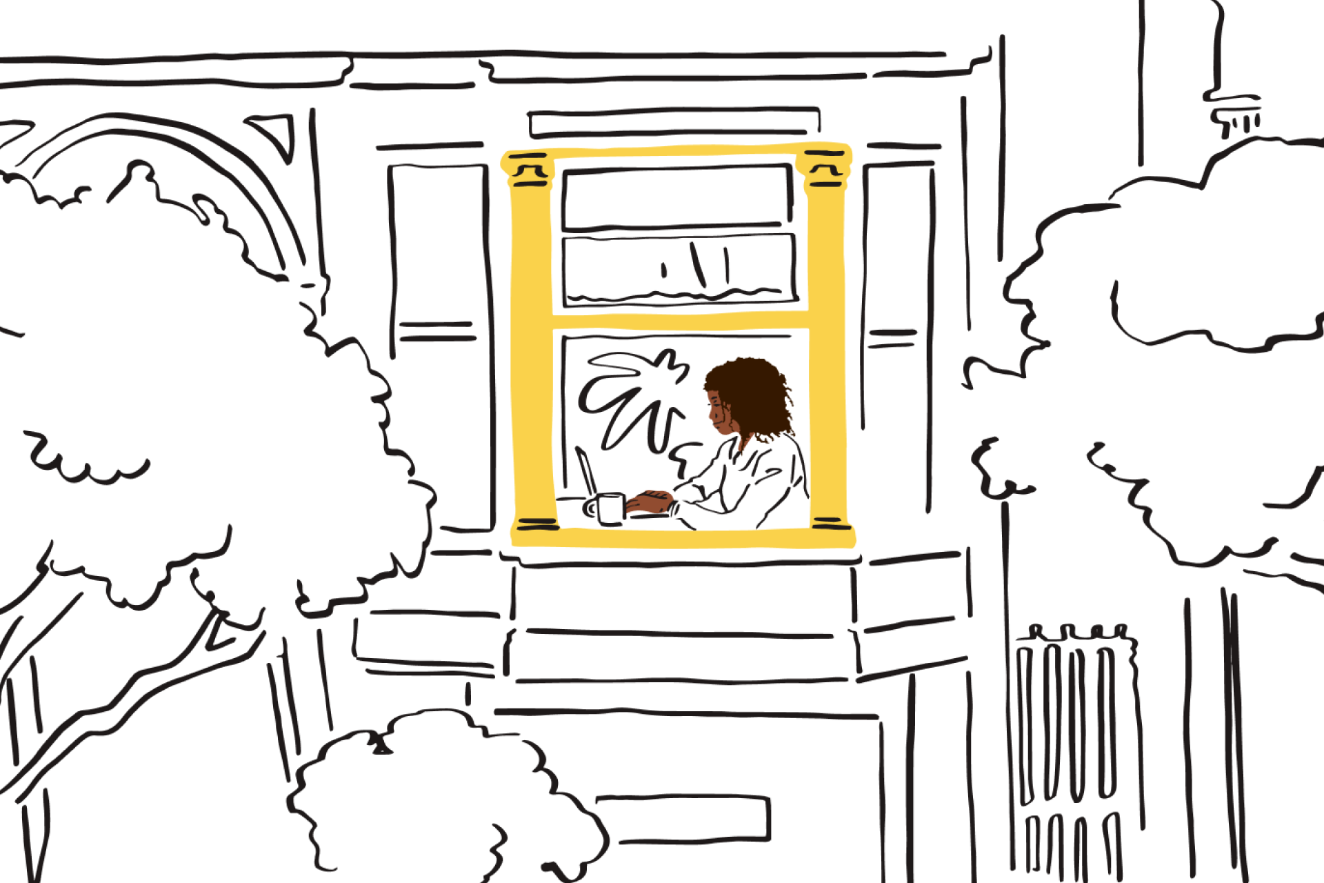 An illustration of a person working remotely from their home