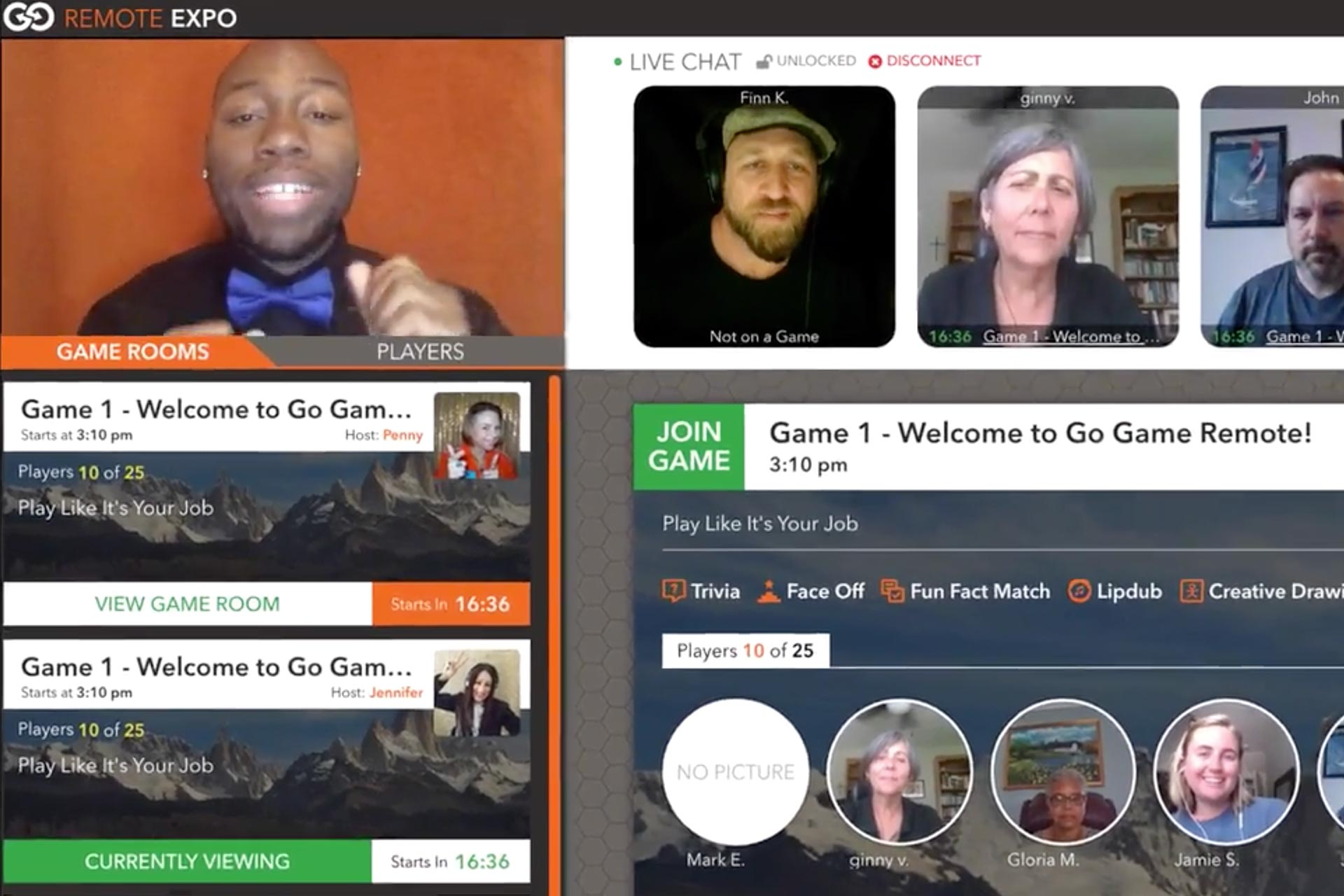 Screenshot of multiple users engaging in an online community