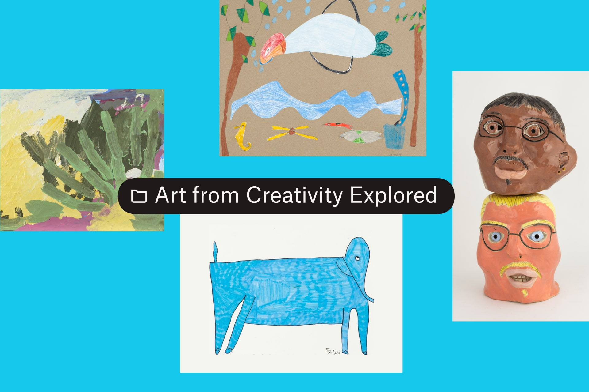 A folder titled Art from Creativity Explored with four images of art.