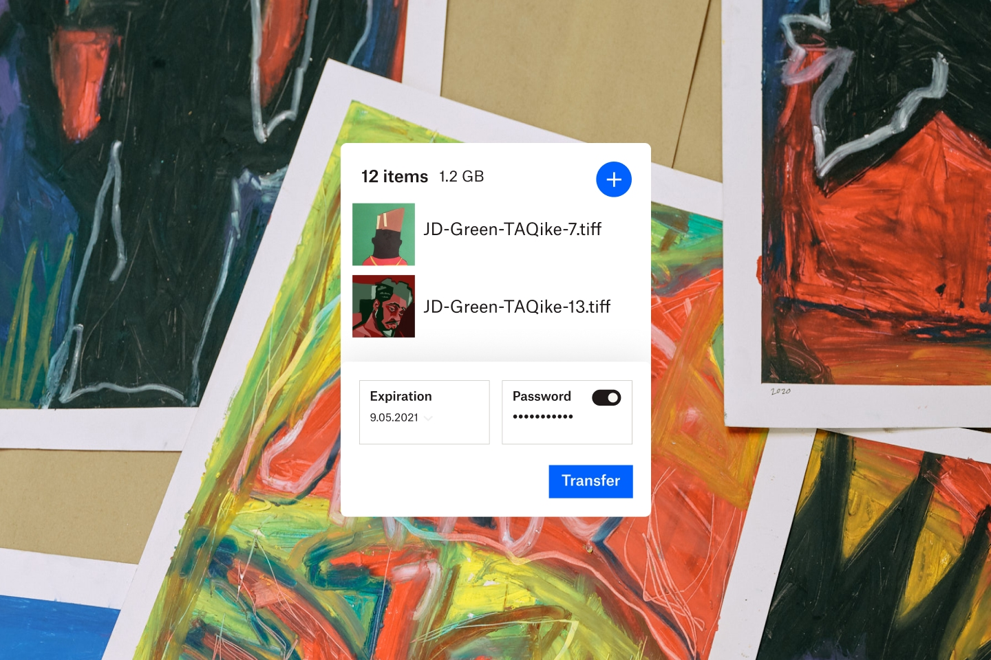 Two photos are ready to be transferred with an expiration date and password protection in Dropbox.
