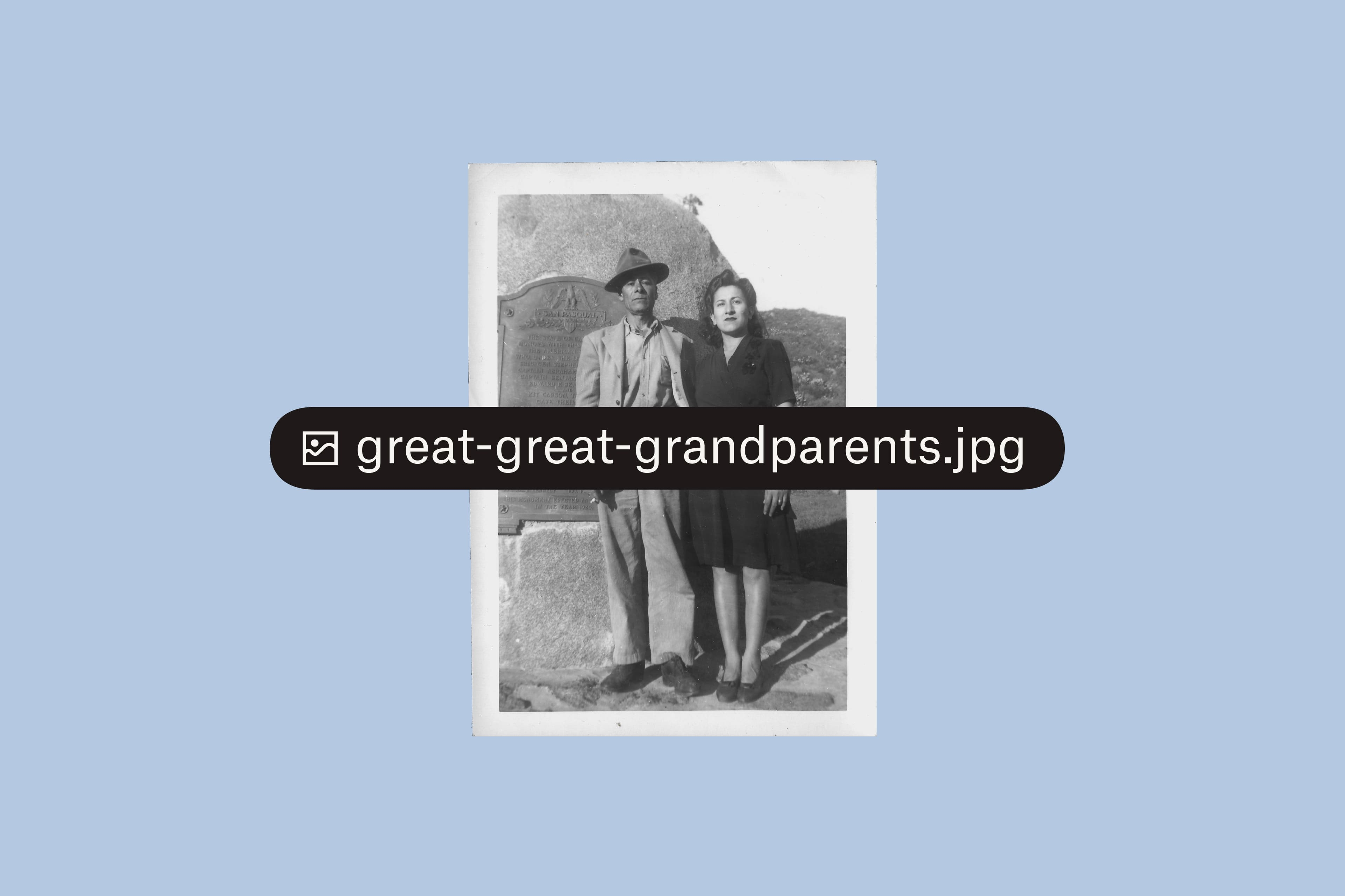 A photo saved in Dropbox of great great grandparents.