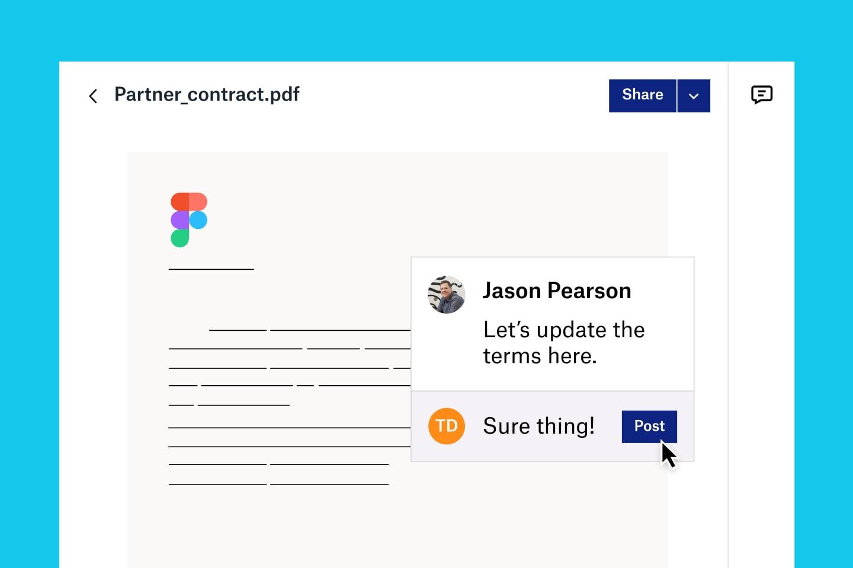 Collaboration sur des contrats entre les équipes commerciales et juridiques avec Dropbox