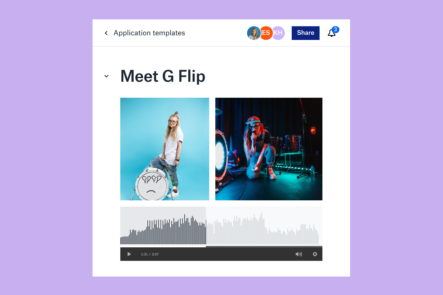 user interface of Dropbox showing musician photos