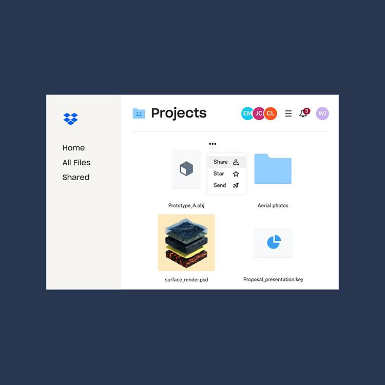 Oceanit Projects organized in Dropbox