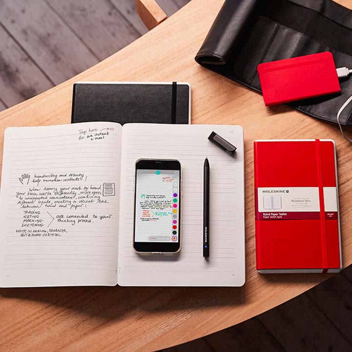 bird's eye view of smartphone on an open book on a desk containing notes
