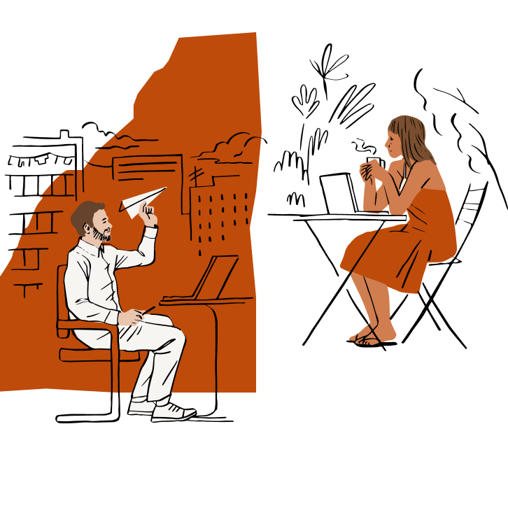 Illustration of a woman and man walking into an office building with a yellow door