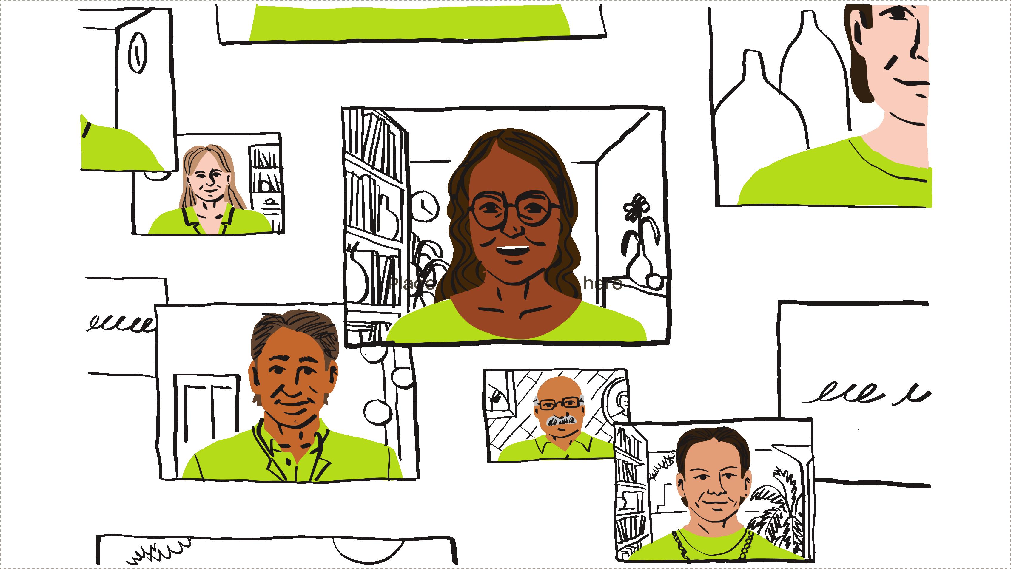 Ilustración de siete hombres y mujeres en una videollamada.