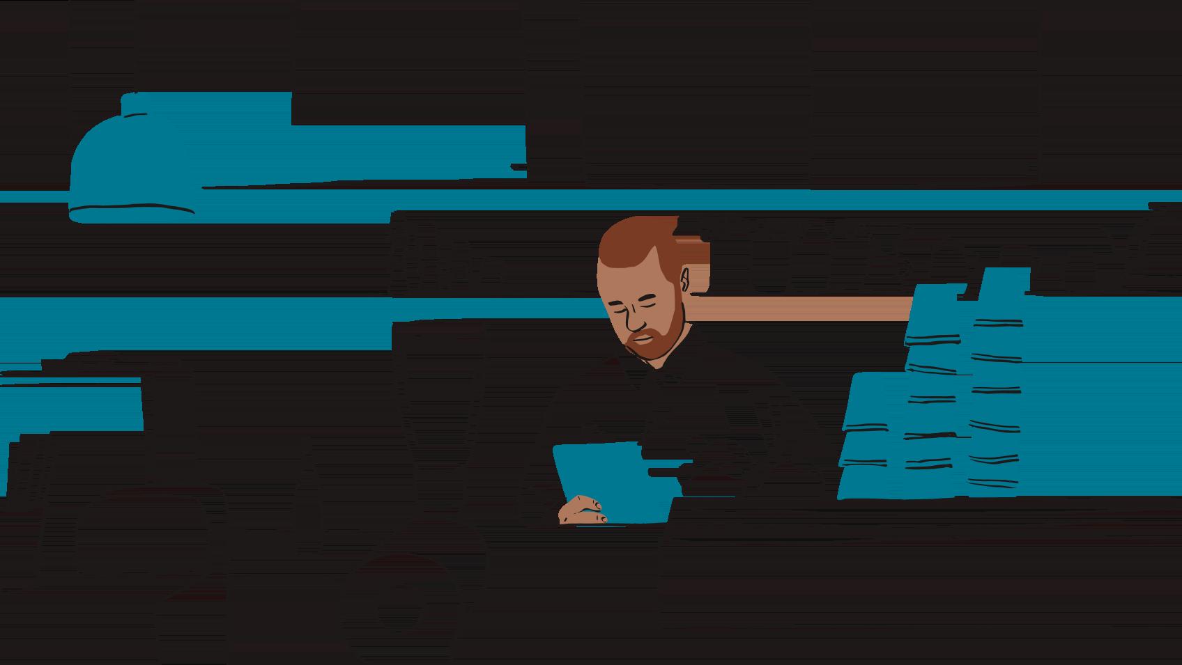 Ilustración de un hombre detrás de un mostrador de café mirando un portapapeles.