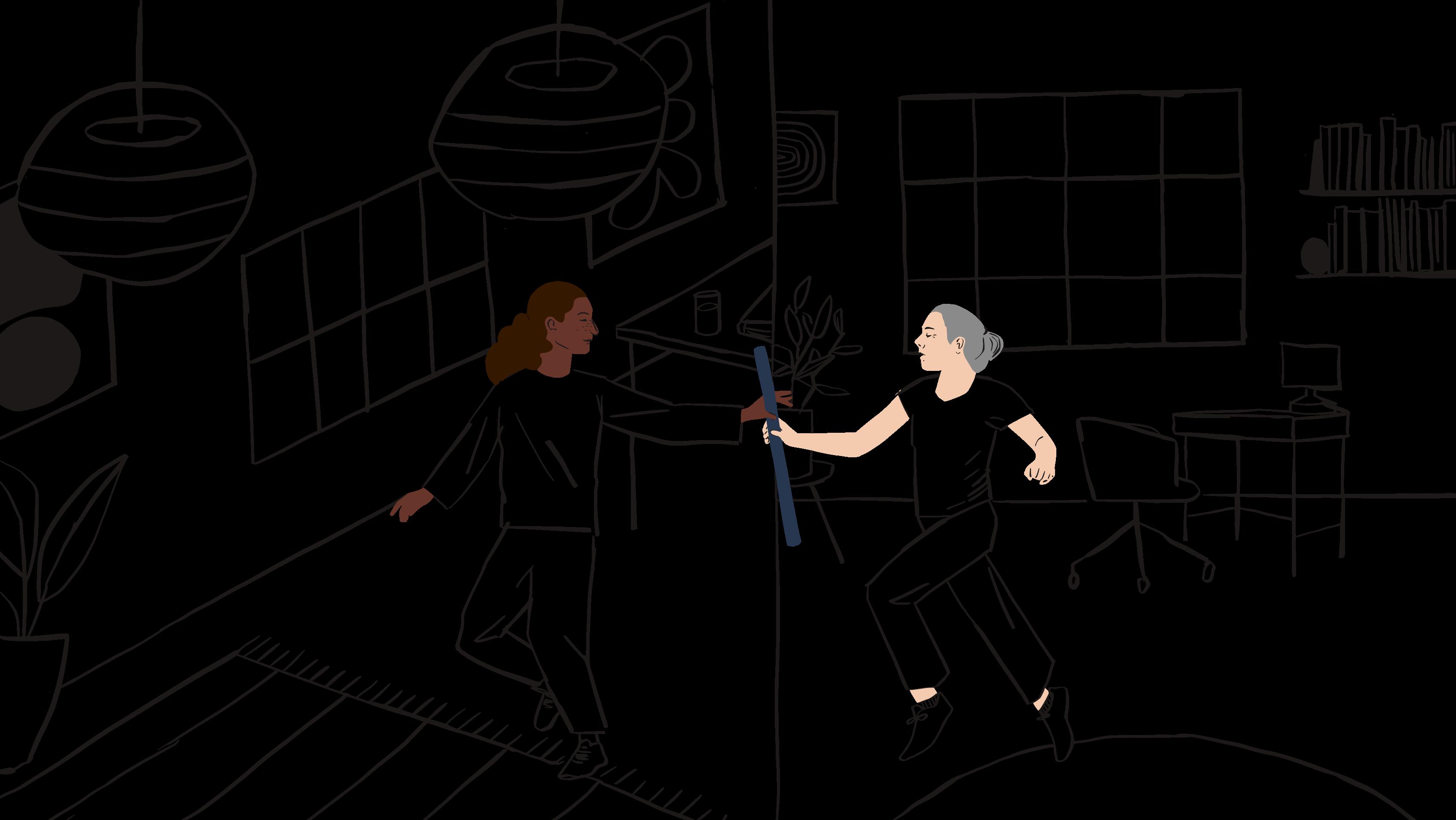 Ilustración de una mujer pasando un bastón de mando a otra mujer.