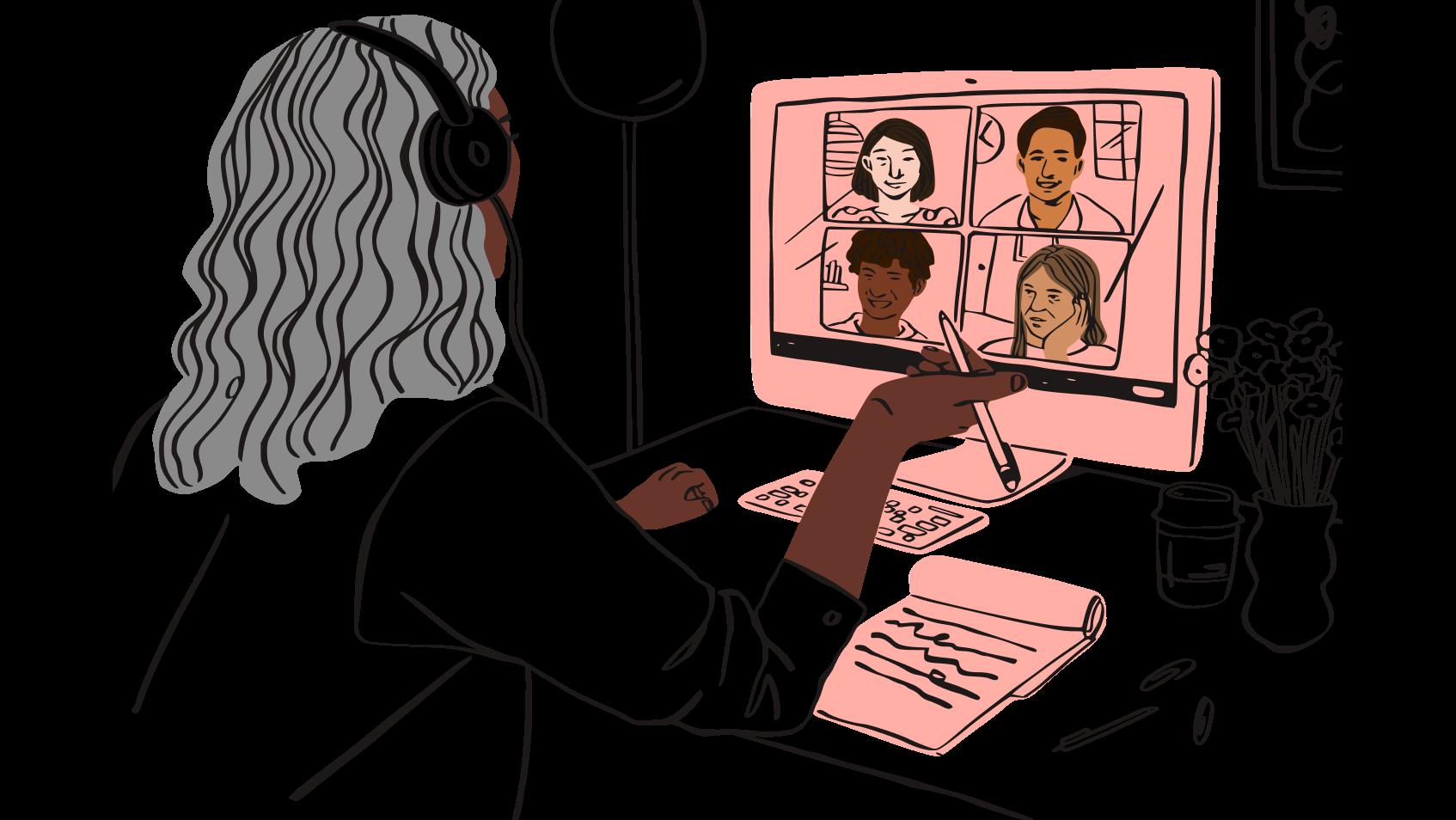 Ilustración de un video de mujer charlando con otras cuatro personas.