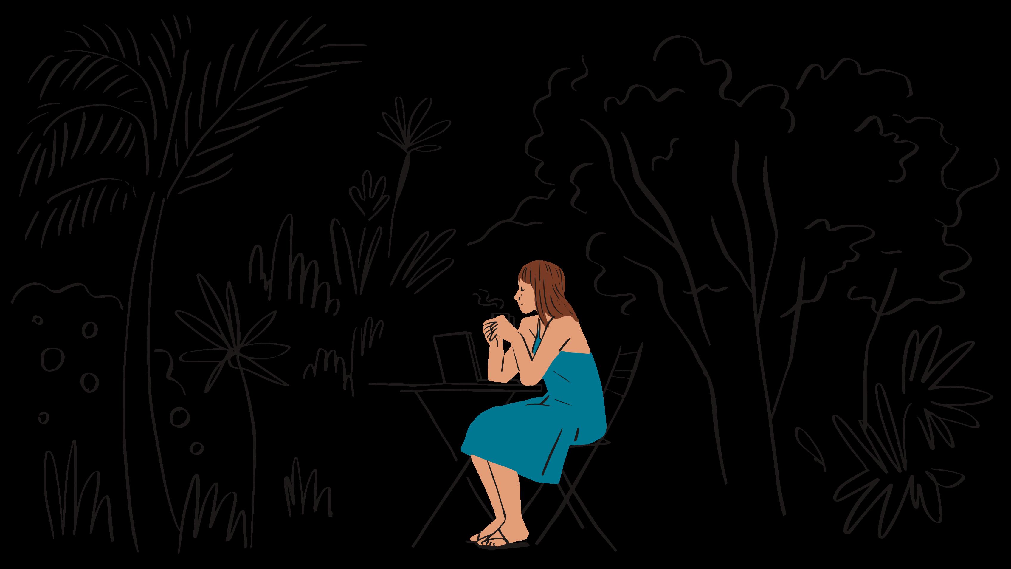 Ilustración de una mujer sentada afuera en una mesa tomando café.