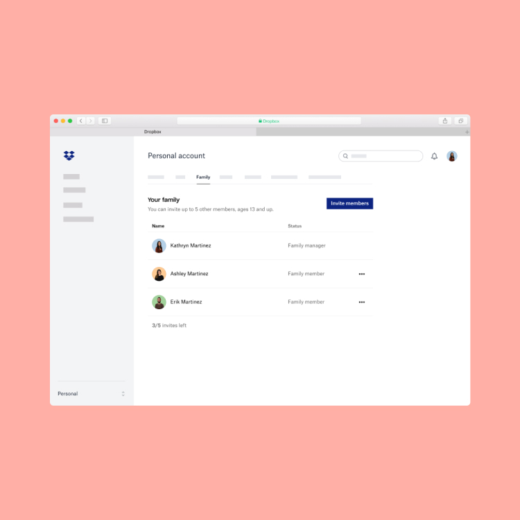 A interface do Dropbox para desktop