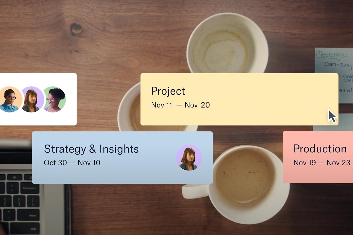 Bird's-eye view of three coffee cups with calendar prompts superimposed on top