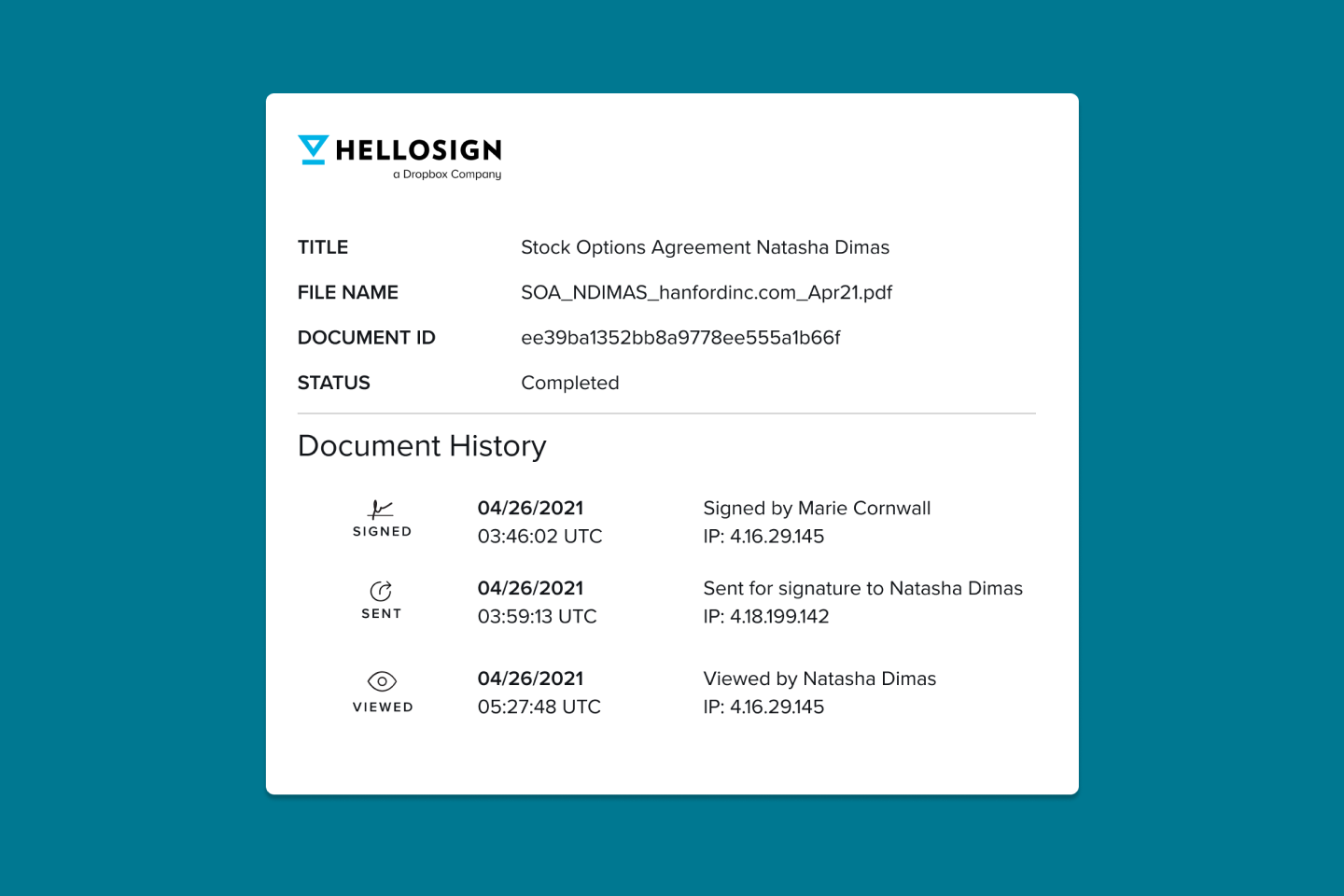 HelloSign audit trail