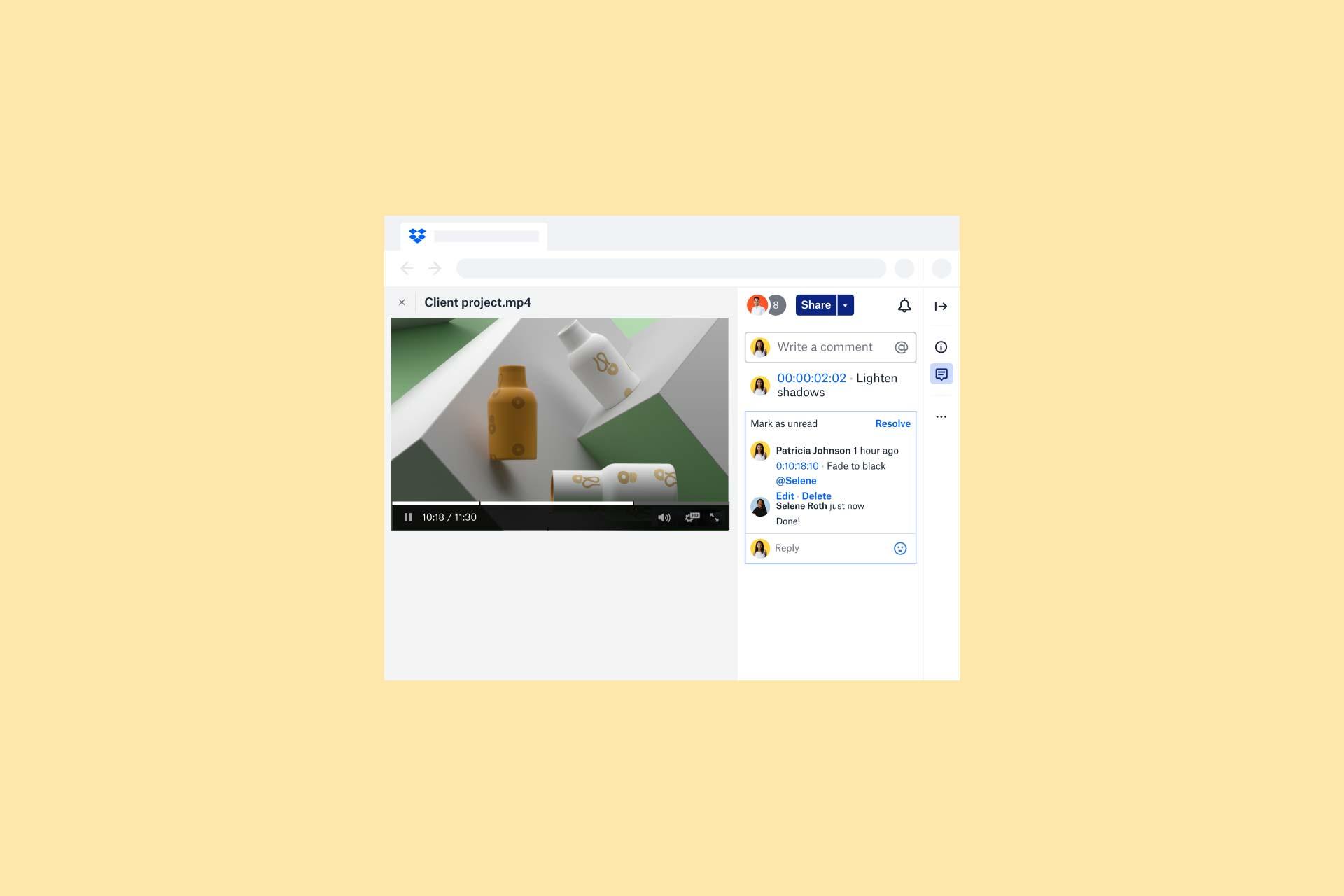Commentaires collaboratifs sur une image d'une vidéo