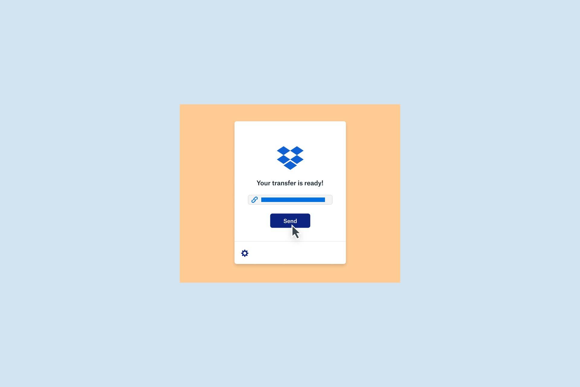 Plik przesłany do Dropbox Transfer jest gotowy do wysłania