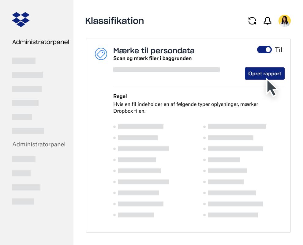 Værktøj til oprettelse af rapporter for dataklassificering i administratorpanelet i Dropbox Business