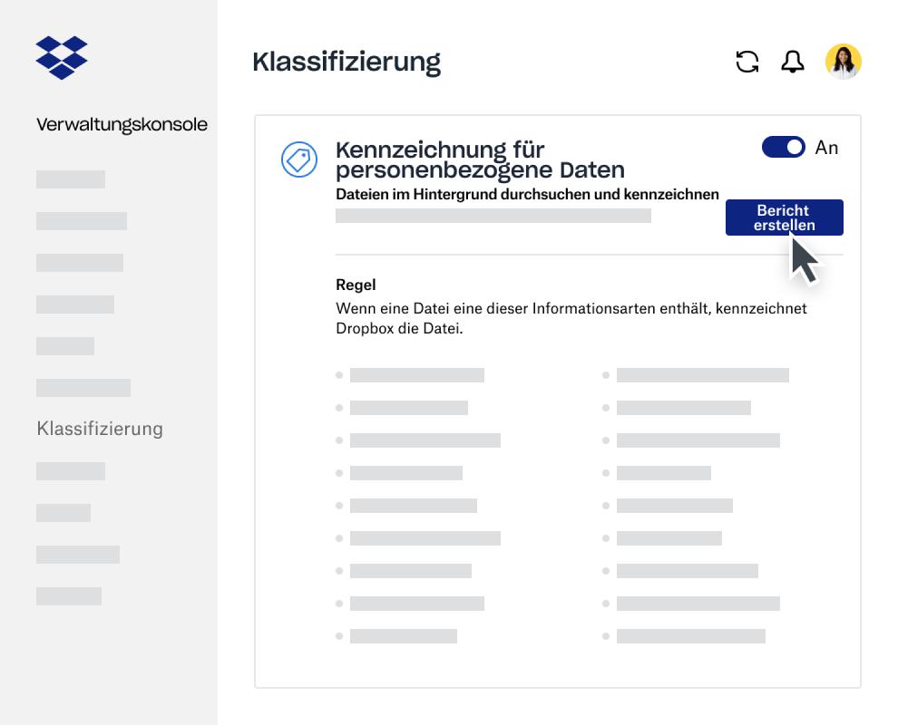 Verfasser eines Datenklassifizierungsberichts innerhalb der Dropbox Business-Verwaltungskonsole