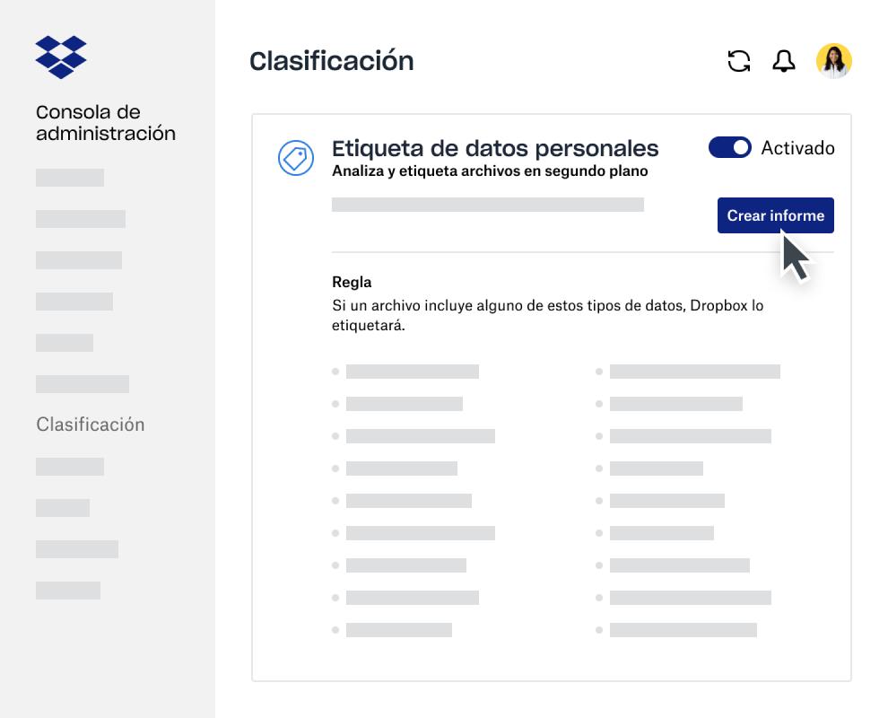 Creador de informes de clasificación de datos dentro de la consola de administración de Dropbox Business