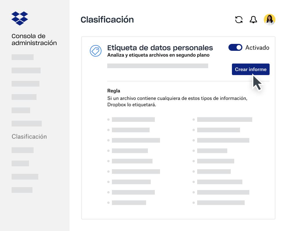Creador de informes de clasificación de datos en la consola de administración de Dropbox Business