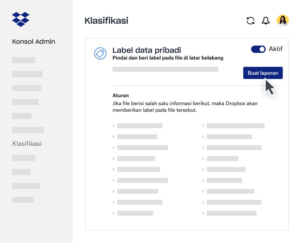 Penyusun laporan klasifikasi data di Konsol Admin Dropbox Business