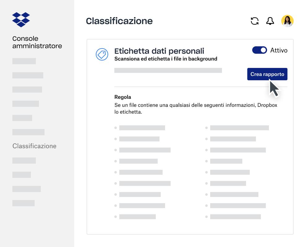 Creatore del report di classificazione dei dati nella Console amministratore di Dropbox Business