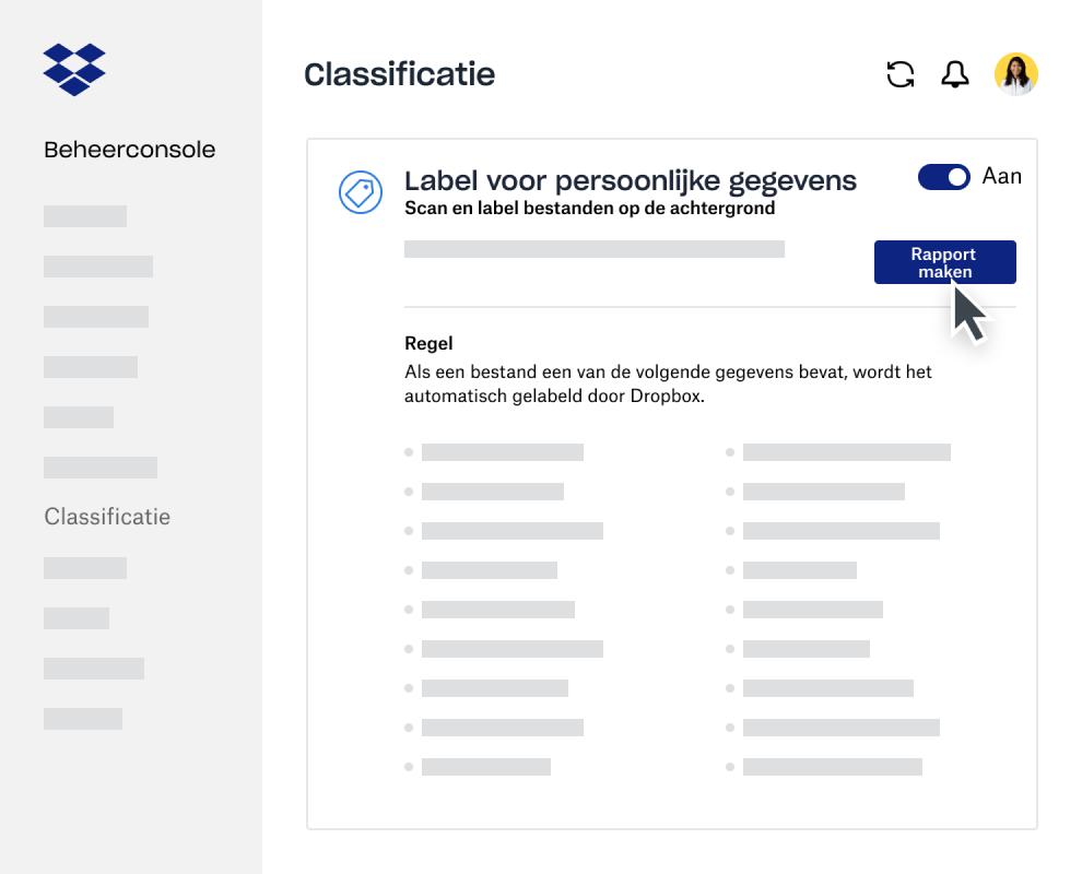 Gebruik de maker voor gegevensclassificatierapporten in de beheerconsole van Dropbox Business