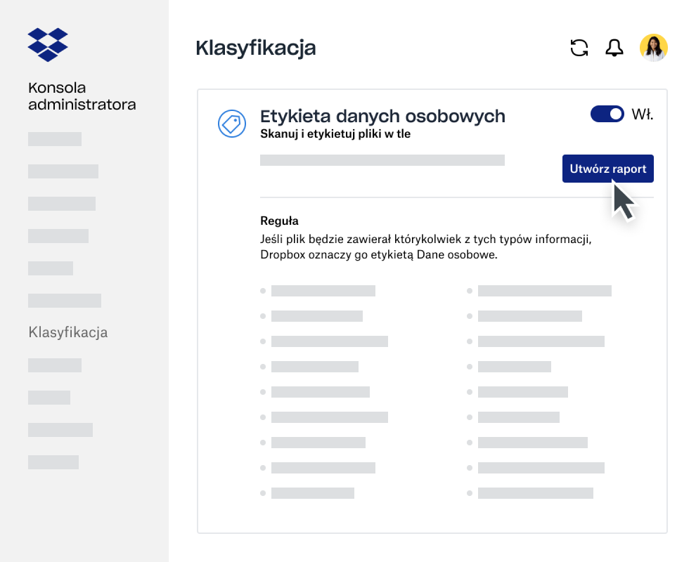 Kreator raportów klasyfikacji danych na Konsoli administratora w Dropbox Business
