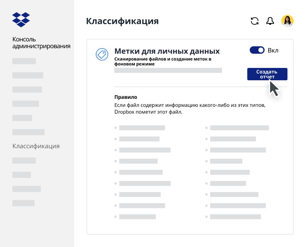 Генератор отчета о классификации данных в консоли администратора Dropbox Business