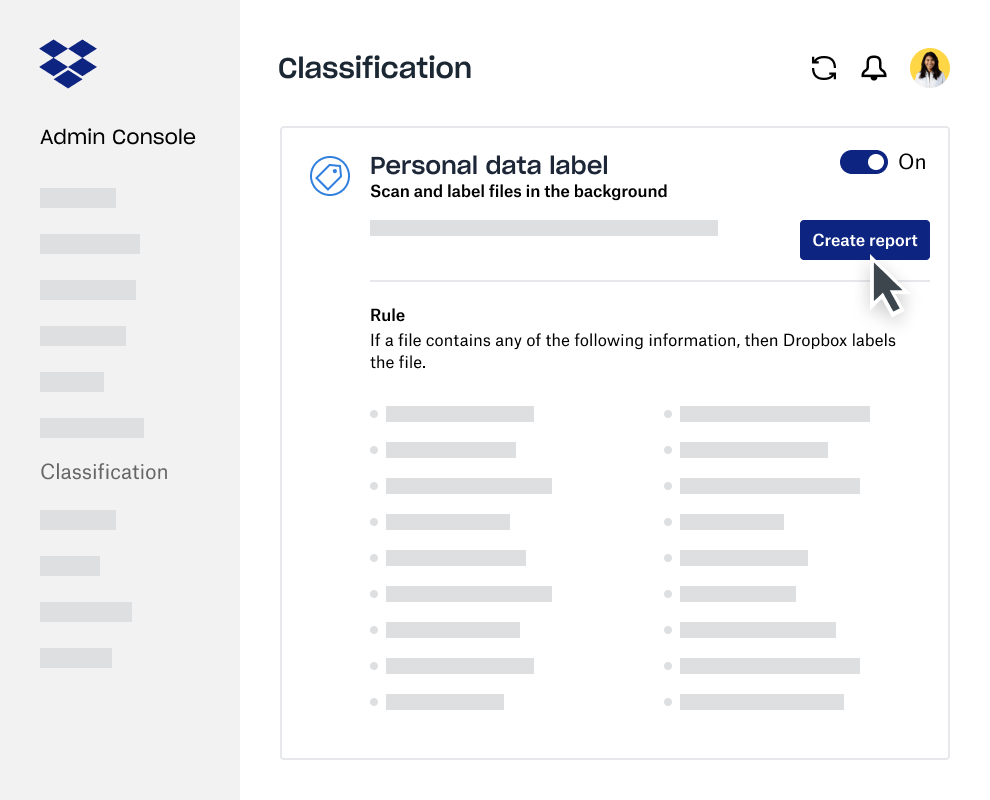 Data classification report creator within the Dropbox Business Admin Console
