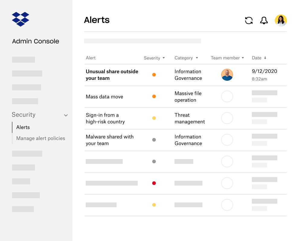 Alerts and notifications within the Dropbox Business Admin Console