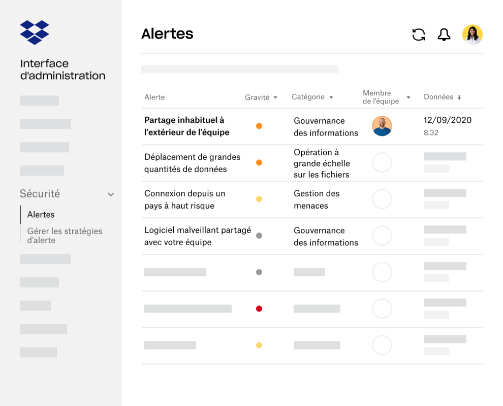 Alertes et notifications dans l'interface d'administration Dropbox Business
